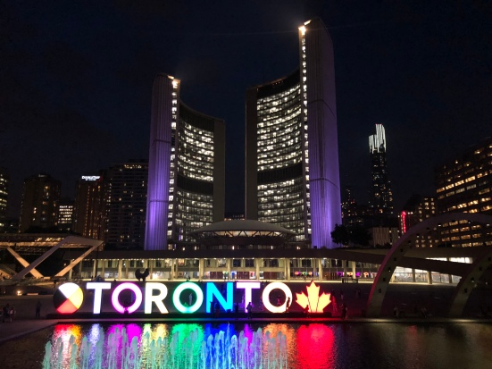 toronto sign at night